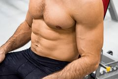 Close-up torso of male athlete at gym. Close up torso of powerful crossfit instructor in gym Stock Photography