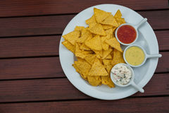 The close-up of tortilla-chips. Stock Photo