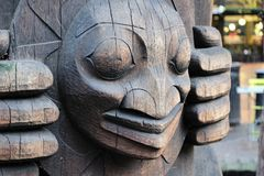 Close-up of a totem pole in Seattle, Washington royalty free stock photography