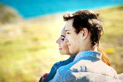 Close-up touching portrait of loving couple. Sensual photo royalty free stock photos