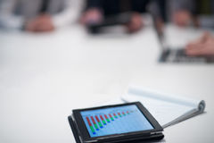 Close up of touchpad with analytics documents at business meetin Royalty Free Stock Photography