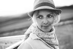 Close up tourist woman portrait Stock Images