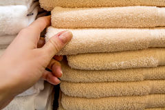 Close up of towels in supermarket Stock Image