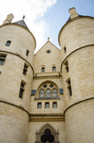 Close-up of the towers of the Conciergerie in Paris. The Conciergerie beside the Seine on Ile Cite was the prison during the French Revolution for those who were royalty free stock image