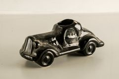 Close-up of toy black car. Object on a White Background Stock Image