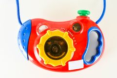 Close-up of toy camera. Object on a White Background Royalty Free Stock Image