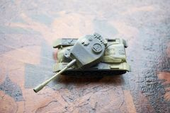 close up of toy military tank. Selective focus. Battle or war concept Stock Photo