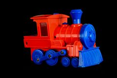 Close-up of toy train. Object on a black Background Stock Images