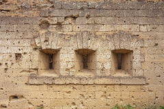 Close up of traces of bullets on fortress wall Royalty Free Stock Photos