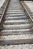 Close up tracks. Close up of unused rusty train tracks stock image