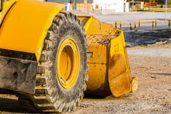 Close up of a tractor tire, Front end loader royalty free stock images