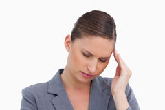 Close up of tradeswoman having a headache Royalty Free Stock Photography