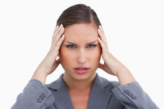 Close up of tradeswoman with headache Stock Photos