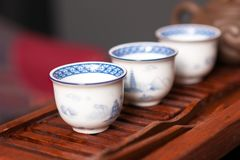 Chinese tea ceremony set. Close up of traditional chinese porcelain teacups stock photos