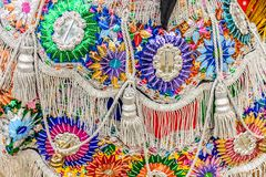 Close-up of traditional folk dancer costume, Guatemala. Parramos, Guatemala - December 28, 2016: Close-up of traditional folk dancer costume for Dance of the royalty free stock photo