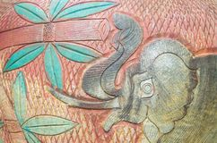 Close-up of traditional handcraft earthenware patterned pottery elephant. pattern background texture. stock image