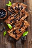 Close up of Traditional homemade chocolate pancakes. Celebration of Maslenitsa, Shrovetide.  royalty free stock images