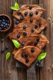 Close up of Traditional homemade chocolate pancakes. Celebration of Maslenitsa, Shrovetide.  stock photos