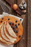 Close up of Traditional homemade pancakes. Celebration of Maslenitsa, Shrovetide.  stock photos