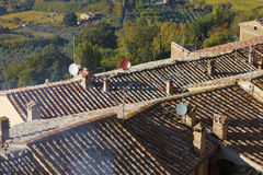 Close up of the traditional Italian red roof tiles in a small vi Stock Photo