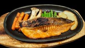 Close-up traditional japanese food grilled teriyaki salmon Stock Photos