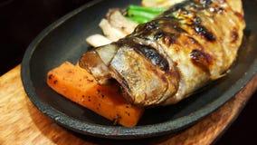 Close-up traditional japanese food saba shioyaki Royalty Free Stock Photo