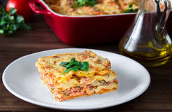 Close-up of a traditional lasagna topped with parskey leafs served on a white plate Royalty Free Stock Photos