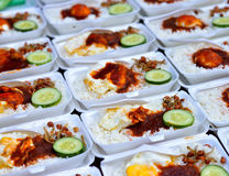 Close up of traditional local food nasi lemak. Selective focus stock photo