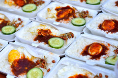 Close up of traditional local food nasi lemak. Selective focus royalty free stock photo