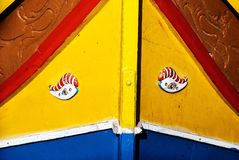Close up of traditional Maltese colorful boat. In Marsaxlokk village Stock Photography