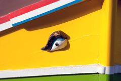 Close up of traditional Maltese colorful boat. In Marsaxlokk village Stock Image