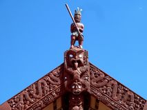Close up of Traditional Maori Wooden carved sculpture new zealand Stock Images
