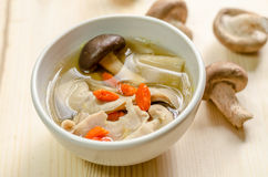 Close up Traditional oriental pork broth with shiitake mushrooms Royalty Free Stock Photos