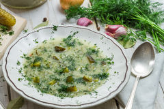 Close-up of traditional plate of cucumber soup with dill Royalty Free Stock Photo