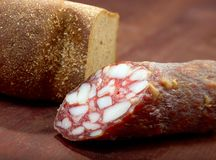 Close-up traditional  sausage salami Royalty Free Stock Photos