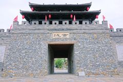 City gate. The close-up of the traditional style city gate of Zhuge Town in Hanzhong, Shaanxi, China royalty free stock photo