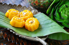 Close up Traditional Thai Dessert on Tray stock photography