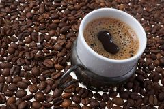 Close up of traditional Turkish coffee - Coffee beans background Royalty Free Stock Photos