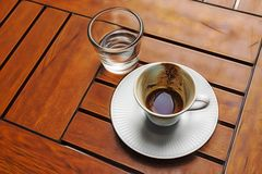 Traditional turkish coffee and coffee fortune in the cup. Close up Traditional turkish coffee and coffee fortune in the cup stock images