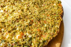 Close up traditional turkish flavor lahmacun royalty free stock photo