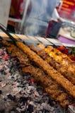Close up of traditional Turkish minced lamb meat kebab, cutlet kebab and chicken kebab.  royalty free stock photos