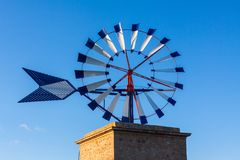 Close-up of a traditional windmill of Majorca royalty free stock photo