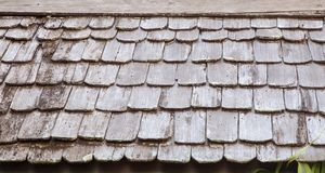Close up traditional wooden roof tile of old house royalty free stock image