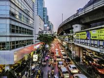 Close-up of traffic jam on Silom Road after work in the evening, Bangkok, Thailand - 2 April 2019 royalty free stock images