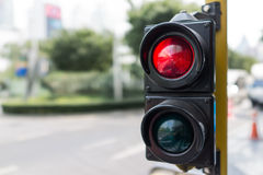 Close up traffic light stop red and green on day. Light Stock Photo