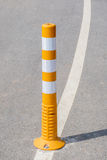 Close up the traffic pole on street line for safety transportati Stock Photo
