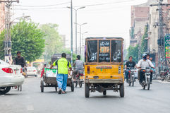 Close up of Traffic scene from Lahore, Pakistan Royalty Free Stock Photography