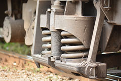 Close Up of Train Shock Absorber and Spring Stock Image