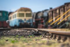 Close up of the train tracks Royalty Free Stock Photography