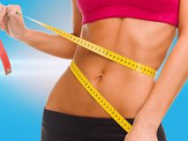 Close up of trained belly with measuring tape Royalty Free Stock Photos